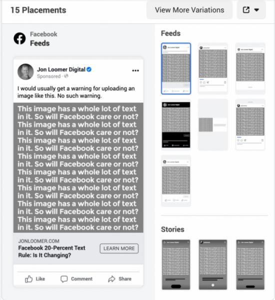 الصورة الرئيسية لإعلان الفيسبوك